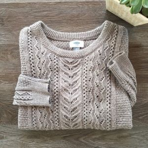 Old Navy Loose Weave Cable Knit Crewneck Sweater